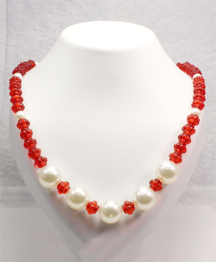 Milyra Crystal & Pearls Necklace - Red White