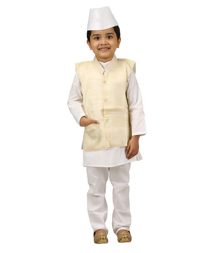 BookMyCostume Jawahar Lal Nehru Panditji Prime Minister Fancy Dress Costume - White