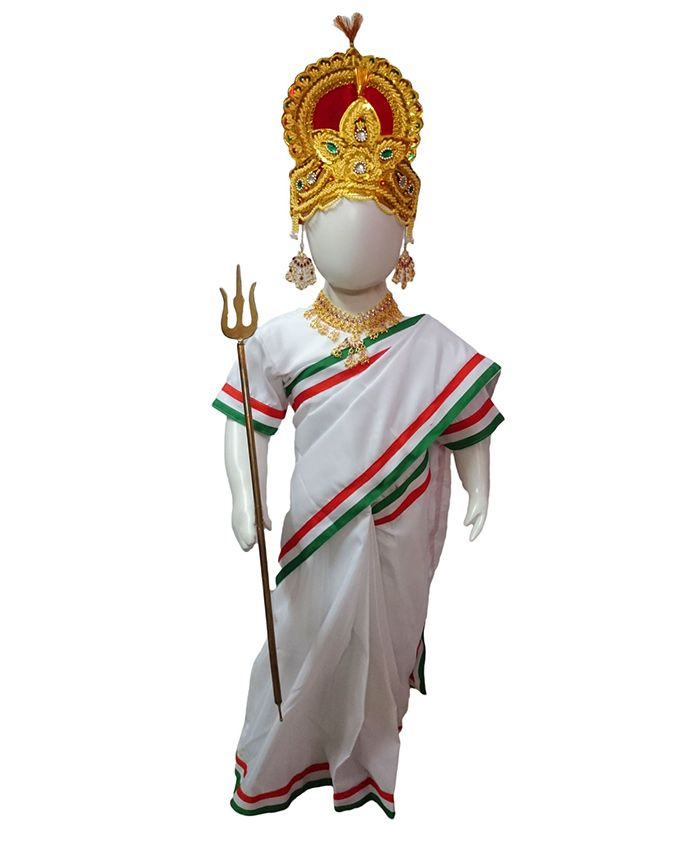 BookMyCostume Mother India Bharat Mata Patriotic Independence Day Fancy Dress Costume 6 pc set - Saffron White and Green