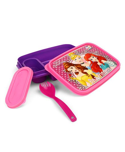 Disney Princess Lunch Box With 2 In 1 Fork Spoon - Pink Purple