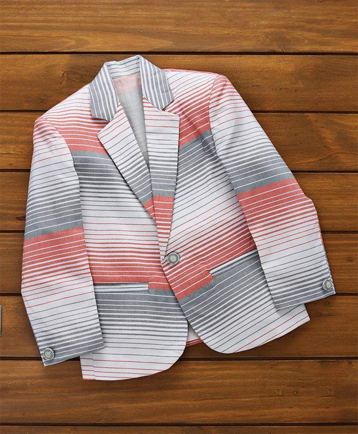 Rikidoos Striped Full Sleeves Blazer - Peach & White