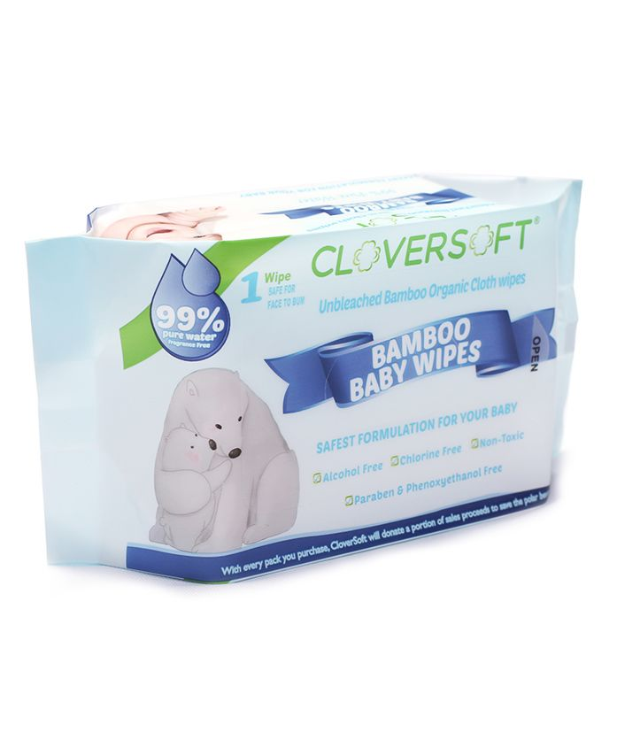 Cloversoft Organic Bamboo Baby Wipes - Pack of 40 Wipes