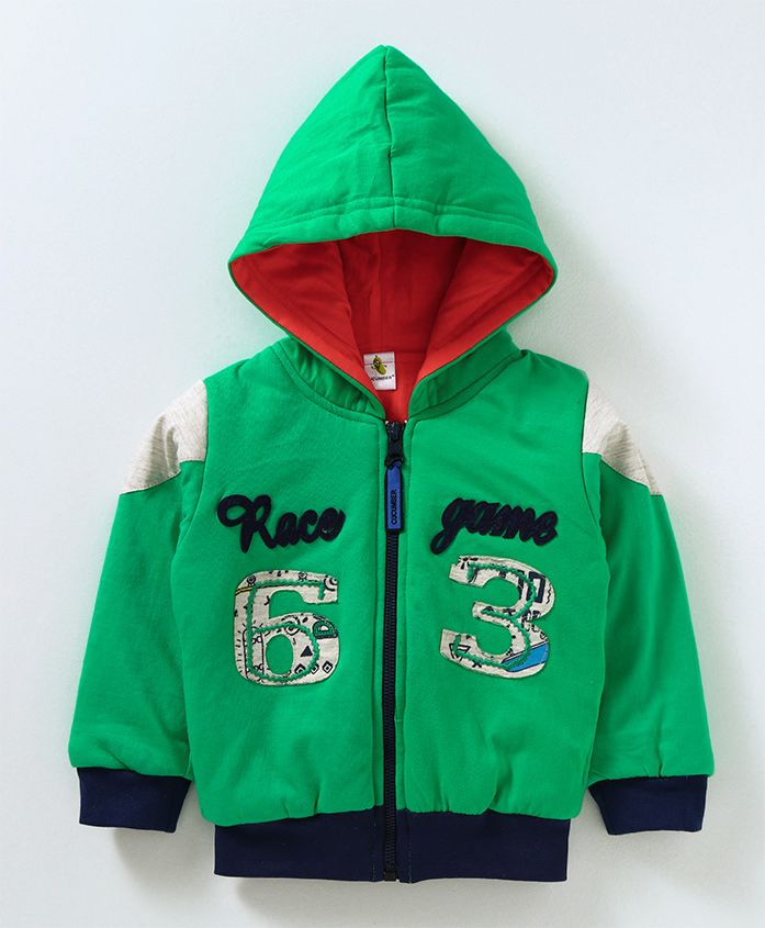 Cucumber Full Sleeves Hooded Sweat Jacket Race Game Patch - Green