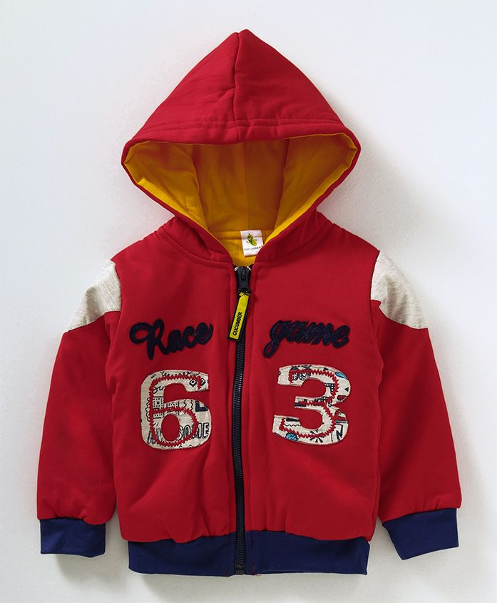 Cucumber Full Sleeves Hooded Sweat Jacket Race Game Patch - Red