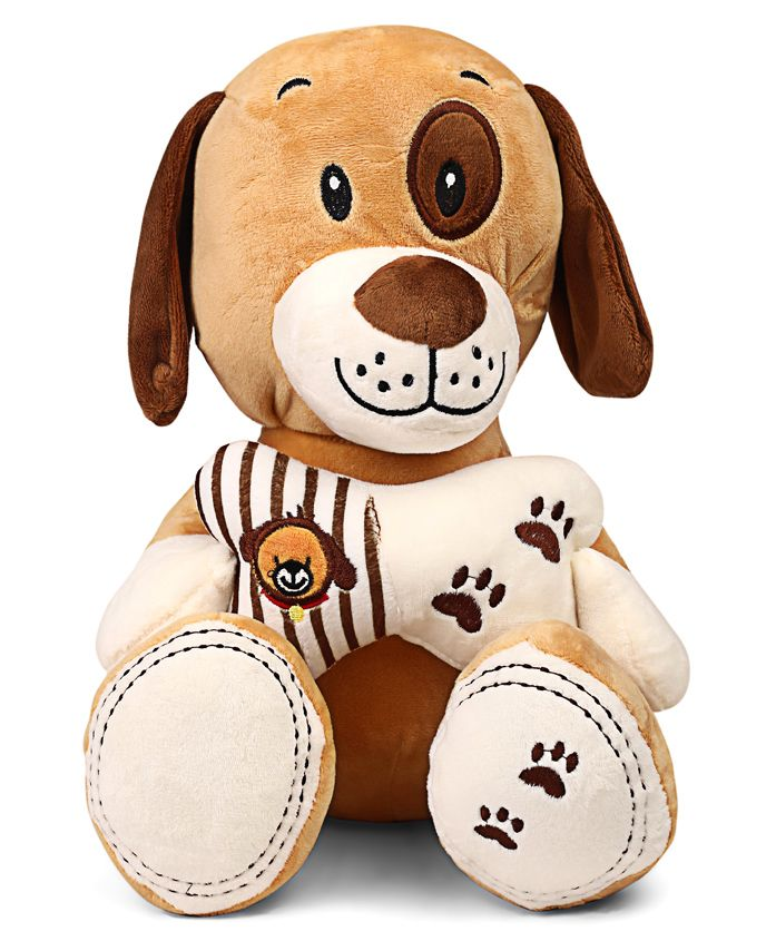 Starwalk Cute Dog Plush With Bone Soft Toy Brown - Height 27 cm