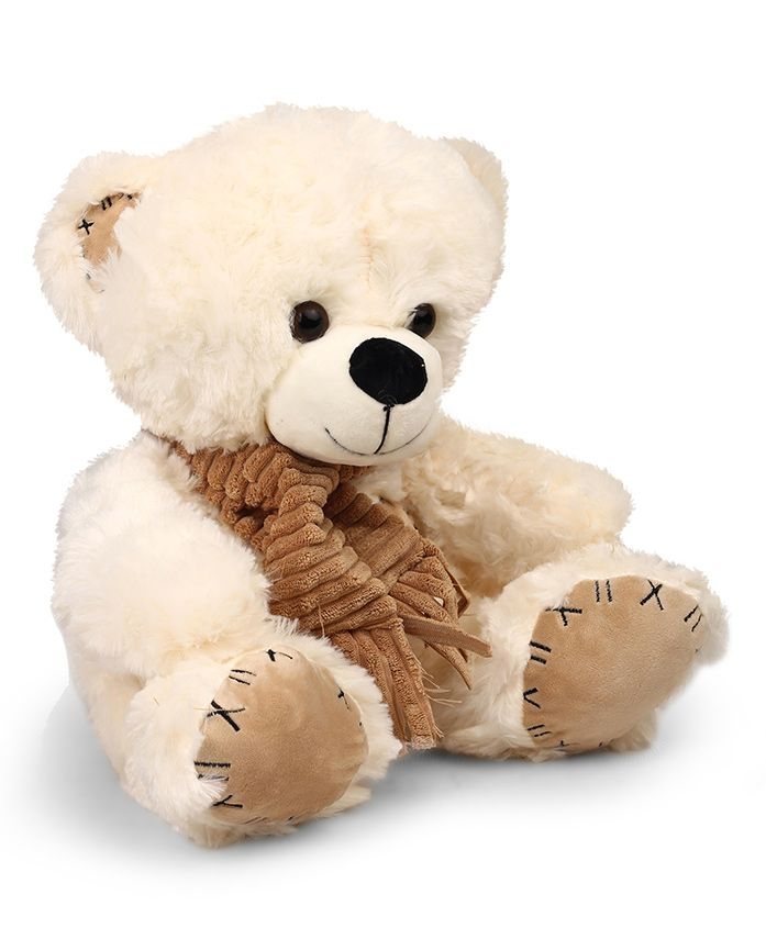 Starwalk Teddy Bear Plush Soft Toy With Muffler White - Height 40 cm