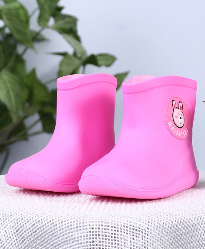 Cutewalk Soli Color Gumboots Bear Patch - Pink