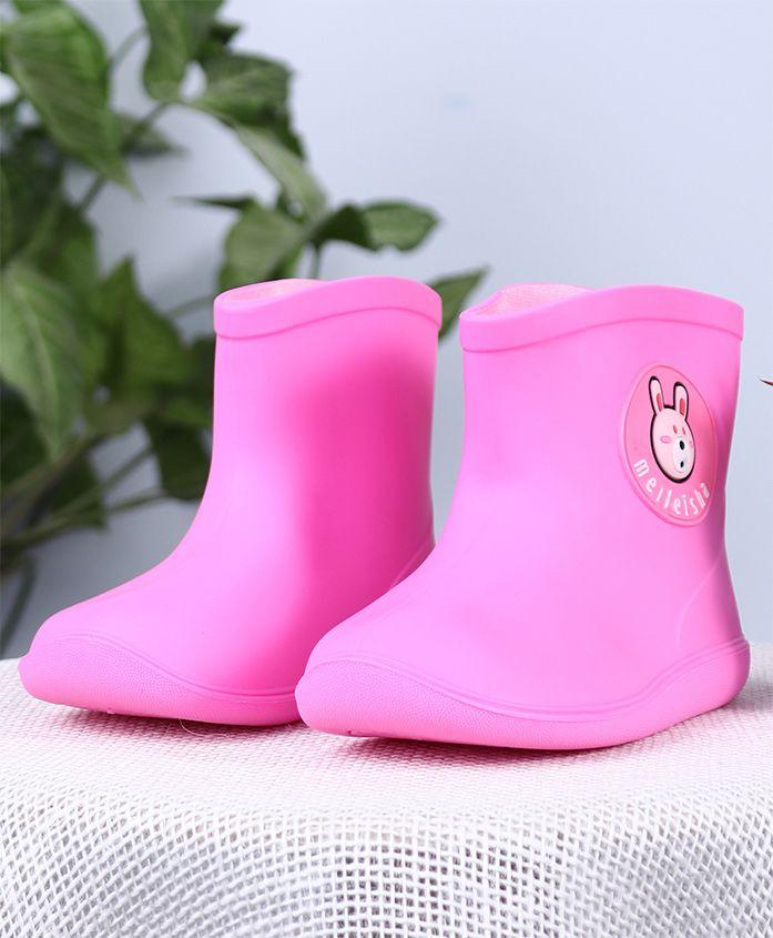 Cutewalk Soli Color Gumboots Bear Patch - Pink
