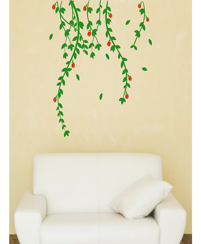 Asian Paints Floral Creepers Wall Sticker (Wall Covering Area: 65 cm x 66 cm)