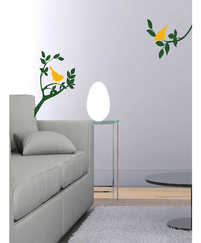 Asian Paints Floral  Branch With 2 Birds  Peel And Stick  Wall Sticker (Wall Covering Area: 74 Cm X 30 Cm)
