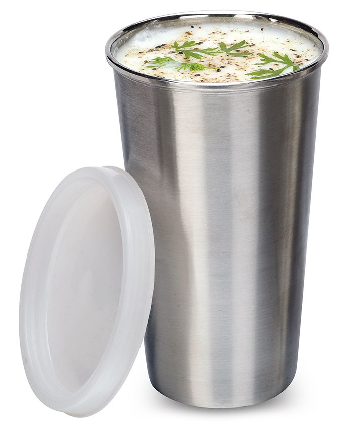 Falcon No Spill Glass With Lid Silver - 300 ml