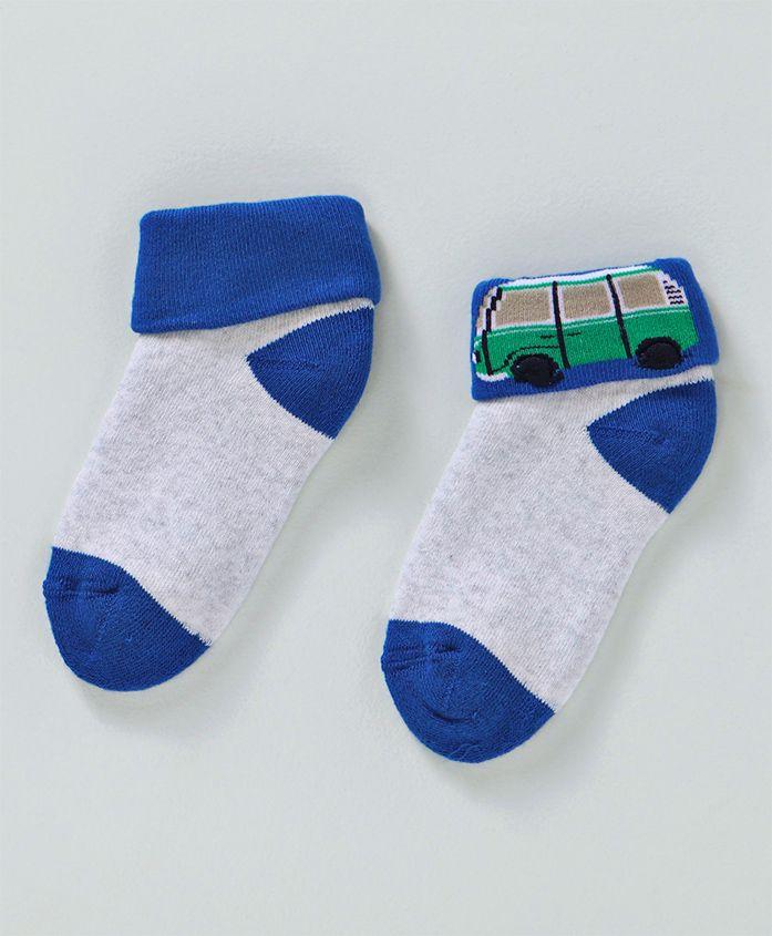 Mustang Ankle Length Socks Bus Design - Blue