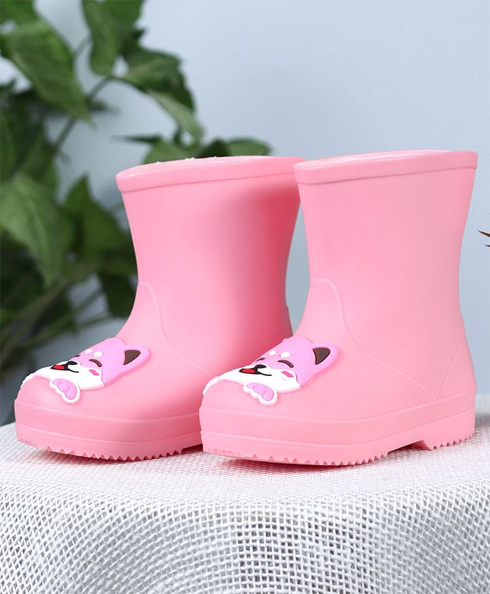 Cute Walk by Babyhug Gumboots Kitty Face Design - Pink