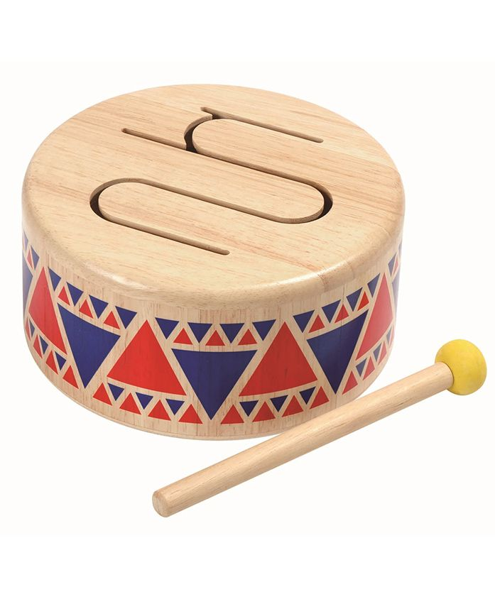 Plan Toys Wooden Solid Drum With Stick - Beige