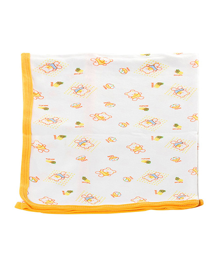 Tinycare Baby Towel With Doll Print - Yellow