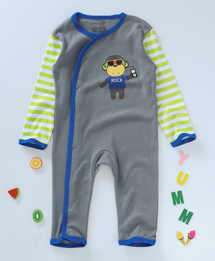 Luvable Friends Monkey Print Sleep Suit - Grey