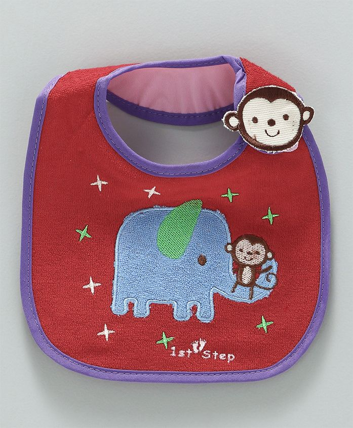 1st Step Bib Elephant Print- Red