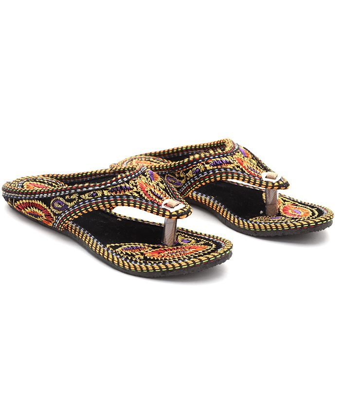 Little Palz Embroidered Ethnic Flats - Black