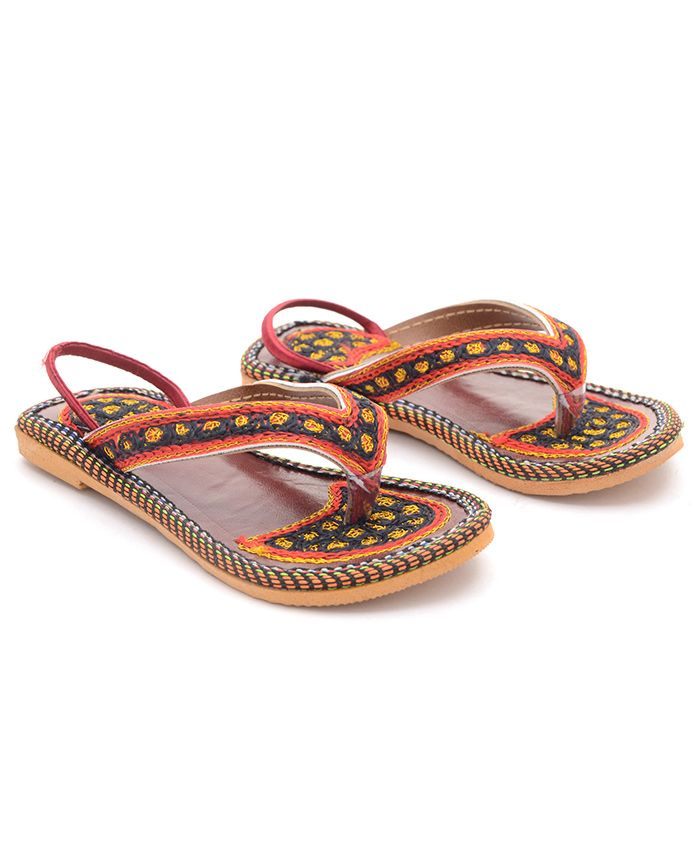 Little Palz Embroidered Flats With Back Strap - Brown