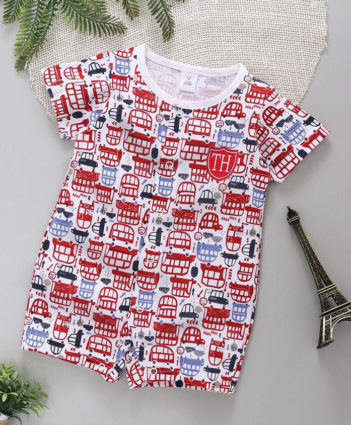 ToffyHouse Half Sleeves Sleep Suit Vehicle Print - Red