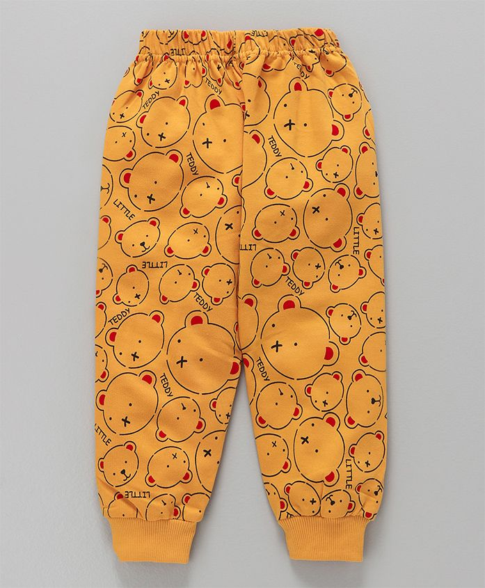 Teddy Full Length Lounge Pant Printed - Yellow