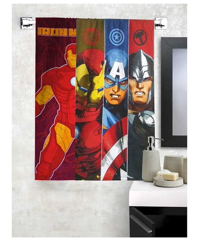 Athom Trendz Marvel Avengers Bath Towel Theme Bath Towel Pack of 2 - Blue Red