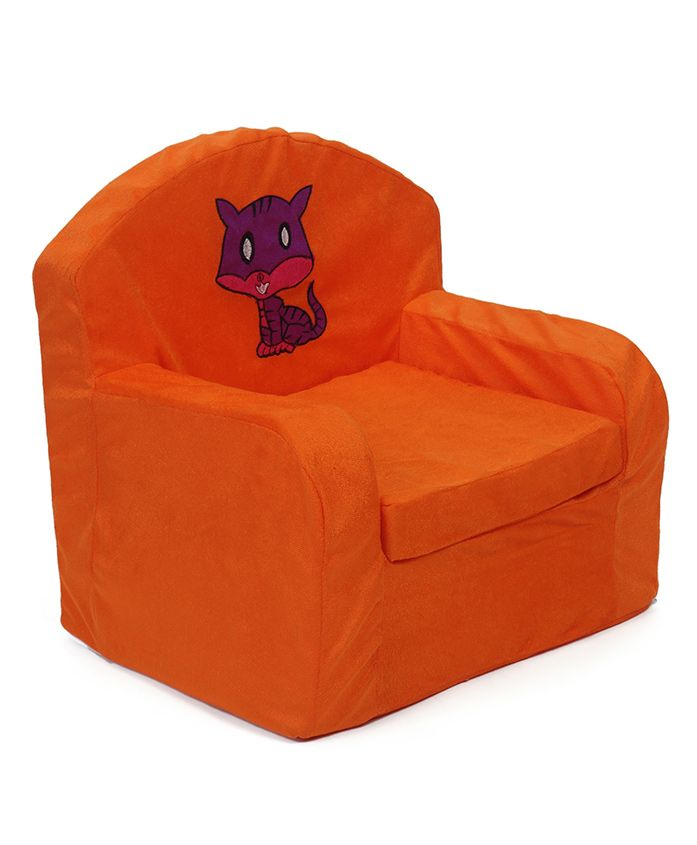 Luvely Kids Sofa Chair Kitty Embroidery - Orange