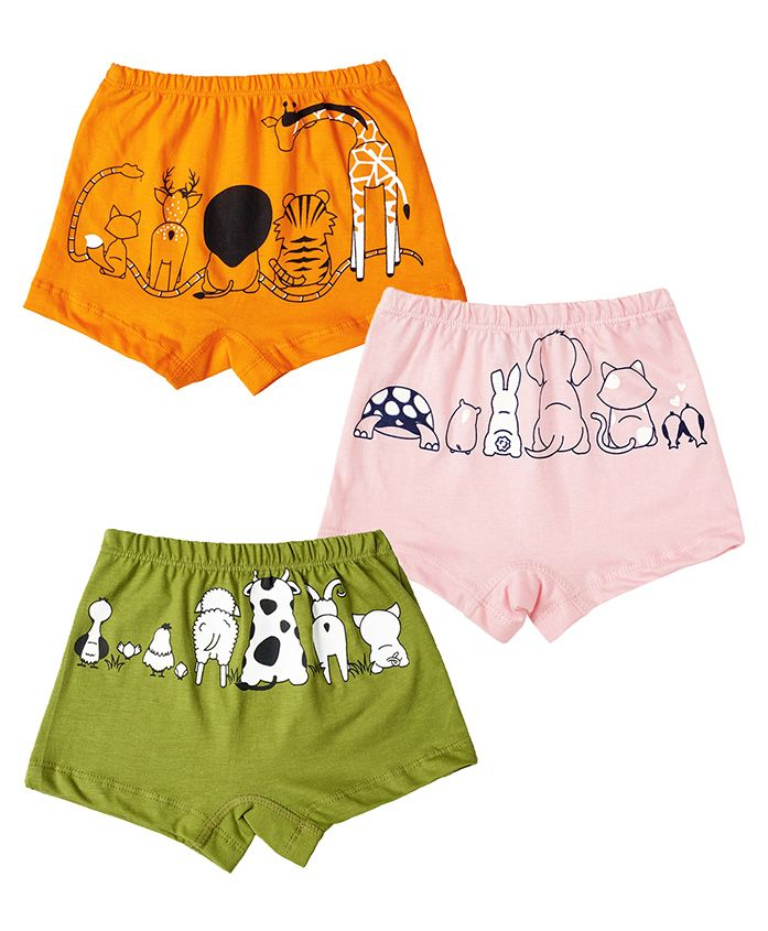 Plan B Set Of Animal Kingdom Briefs With Organic Pouch - Lime Baby Pink & Orange