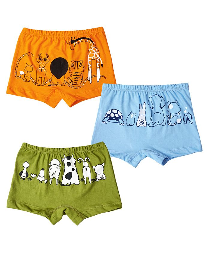 Plan B Set Of Animal Kingdom Briefs With Organic Pouch - Lime Blue & Orange