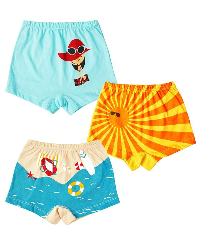 Plan B Set Of Summer Themed Briefs With Organic Pouch - Blue Light Peach & Yellow