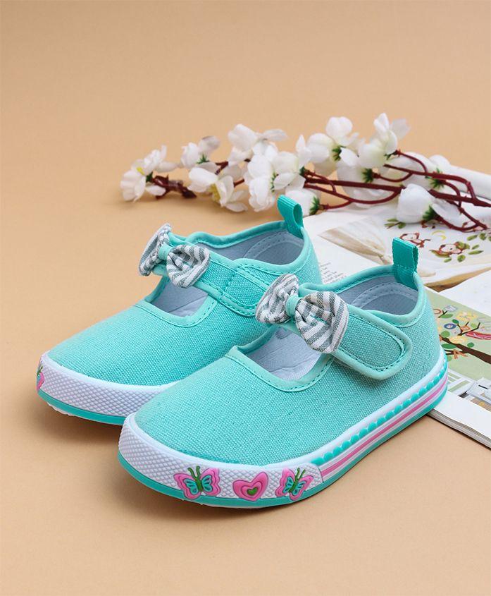 Cute Walk by Babyhug Casual Shoes Bow Applique - Sea Green
