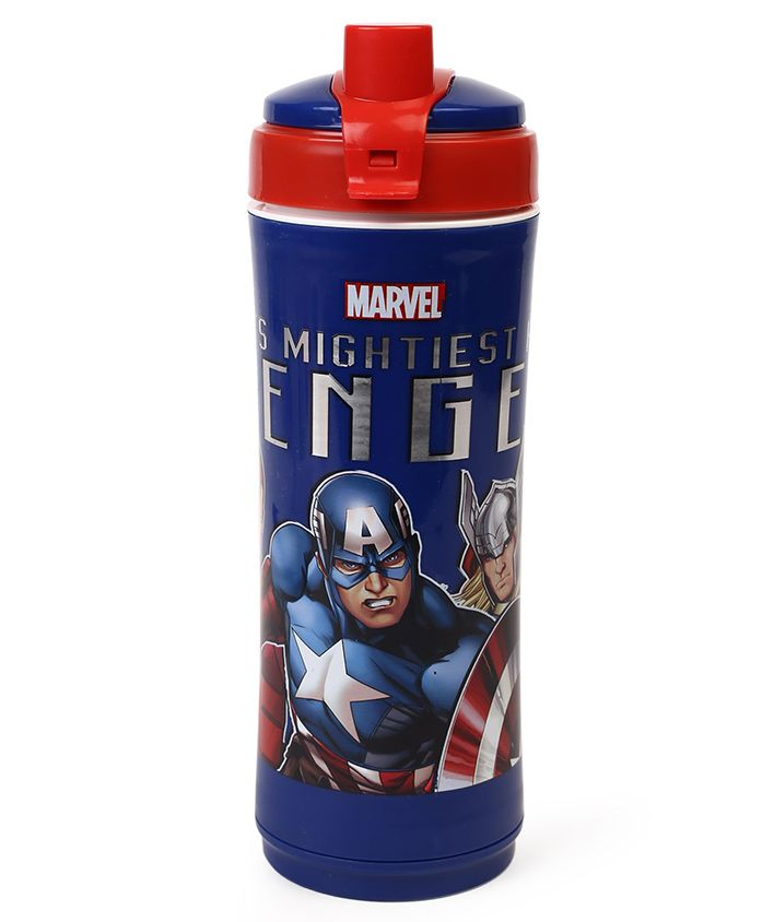 Marvel Captain America Insulated Sipper Bottle With Flip Open Top Red Blue - 600 ml
