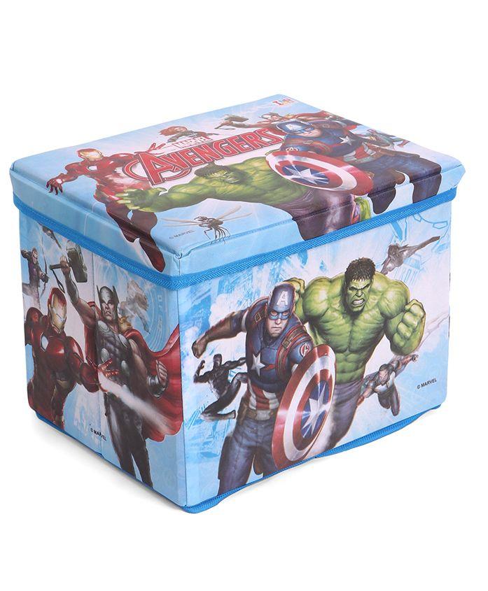 Marvel Avengers Wooden Toy Storage Box - Blue