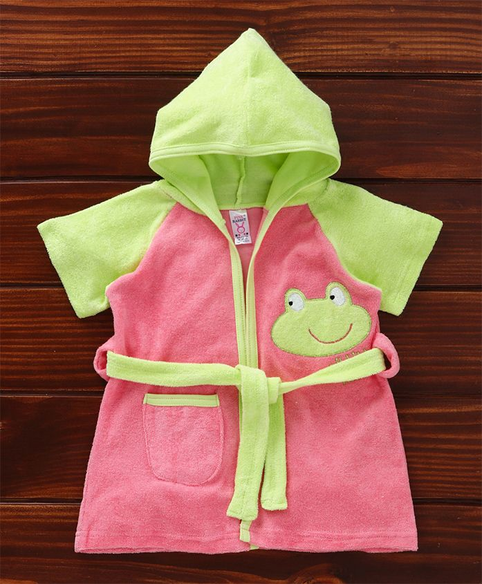 Pink Rabbit Hooded Bath Robe Froggy Patch - Pink