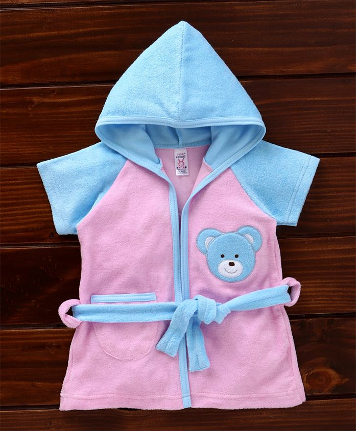 Pink Rabbit Hooded Bath Robe Teddy Patch - Pink