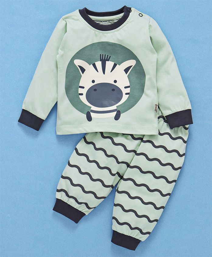 Mini Taurus Full Sleeves Night Wear Zebra Print - Light Green