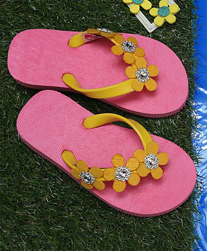 Dchica Flower Embellished Flip Flops - Pink