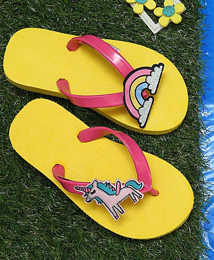 Dchica Unicorn and Rainbow Embedded Flip Flops - Yellow