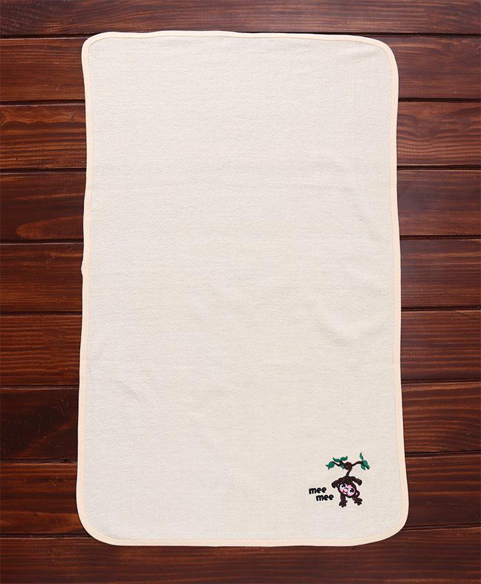 Mee Mee Absorbent Baby Bath Towel Monkey Design - Cream