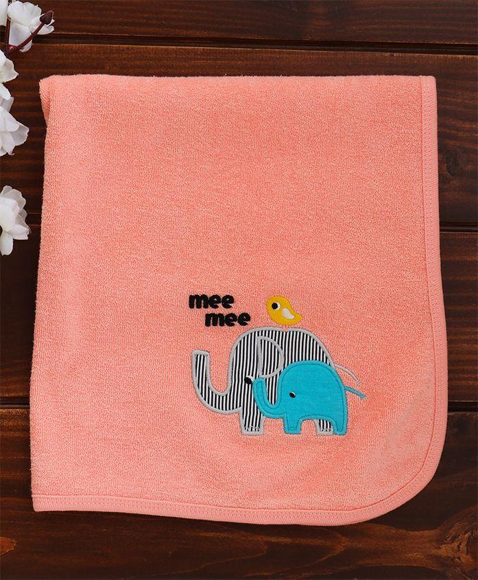 Mee Mee Absorbent Baby Bath Towel Elephant Design - Peach