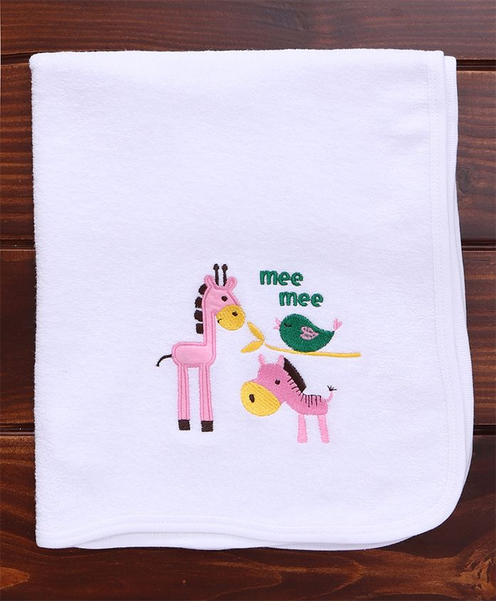 Mee Mee Absorbent Baby Bath Towel Animal Design - White
