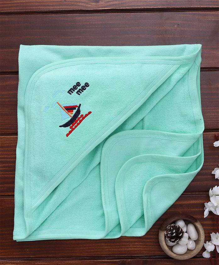 Mee Mee Absorbent Hooded Bath Towel Boat Embroidery - Green