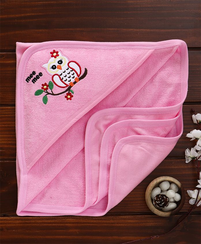 Mee Mee Soft Absorbent Baby Towel with Hood (Pink) MM-8160 B