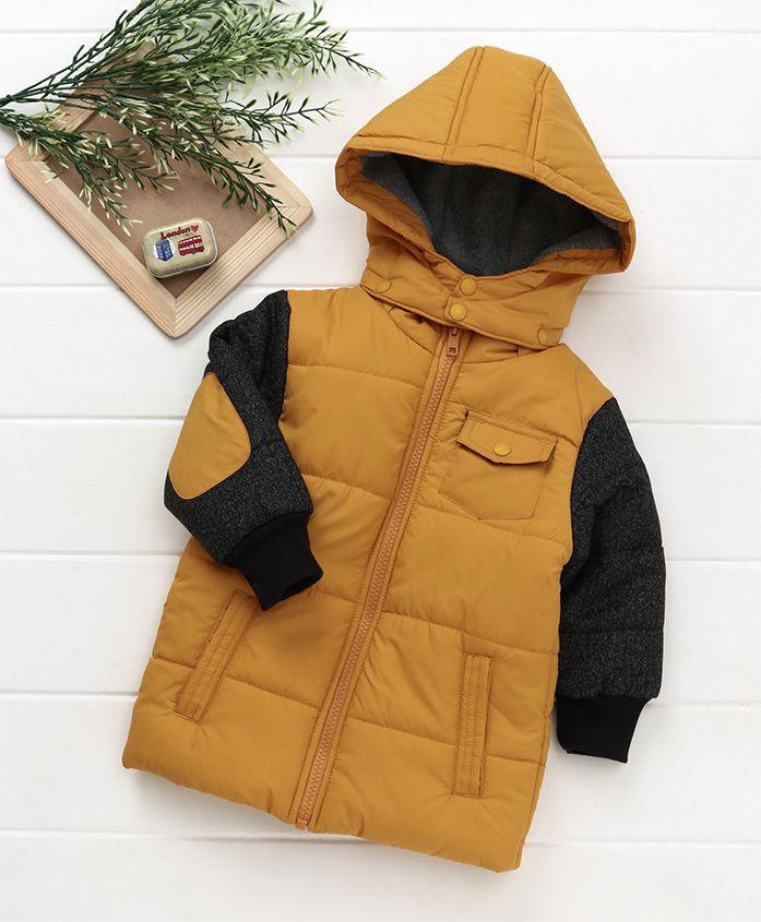 Beebay Full Sleeves Hooded Jacket - Mustard Yellow