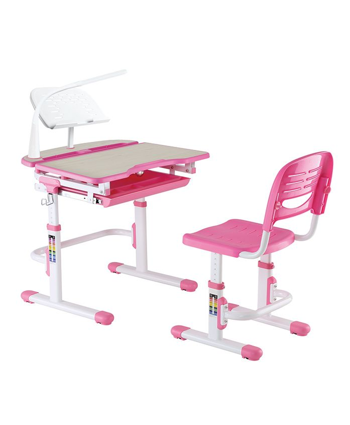 Kidomate Height Adjustable Study Table & Chair - Pink