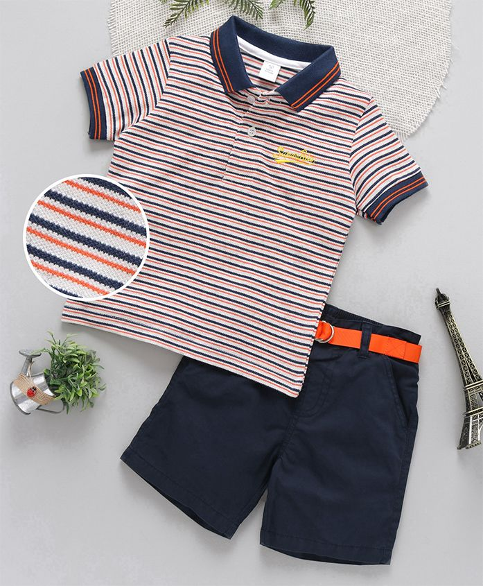 ToffyHouse Half Sleeves Striped Tee With Shorts - Blue Orange