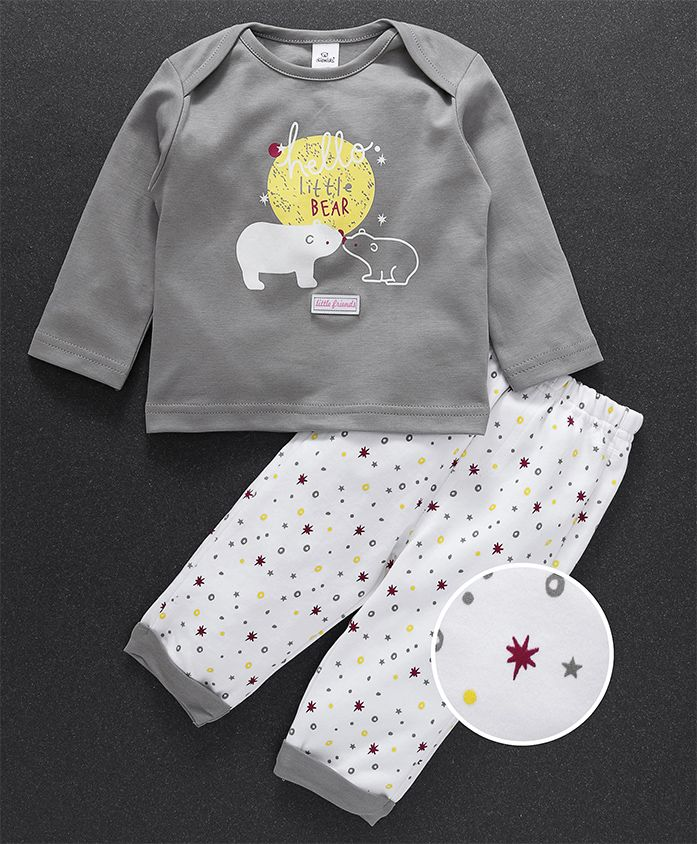 Olio Kids Full Sleeves Tee And Lounge Pant Bear Print - Grey White