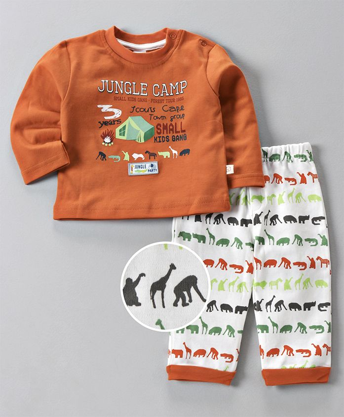 Olio Kids Full Sleeves Tee And Lounge Pant Jungle Camp Print - Orange White