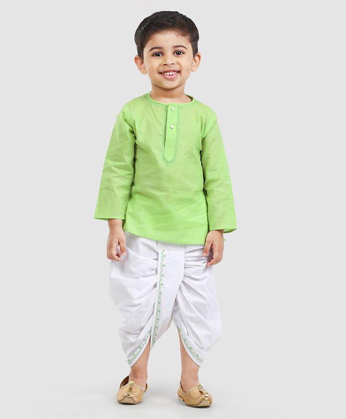 Babyhug Full Sleeves Kurta & Dhoti Set - Green White