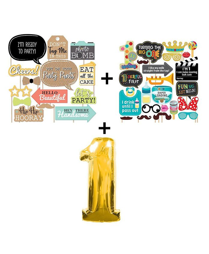 Party Popz 1st Birthday Photo-booth Combo With Golden Foil Balloon Multicolor - 34 Pieces